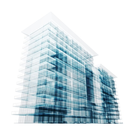 Modern building. Isolated on white photo