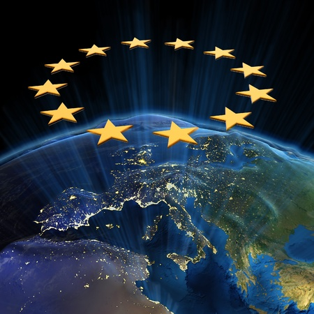 mapa europa: Uni�n Europea por la noche.