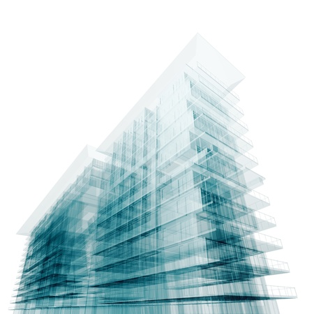 Urban building. Isolated on white
