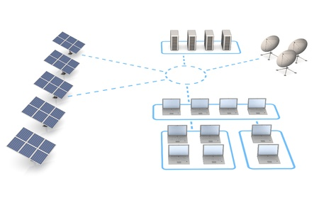 solarenergy: Energy and network. White isolated 3d render Stock Photo