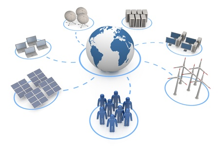 solarenergy: Global communication. White isolated 3d render Stock Photo