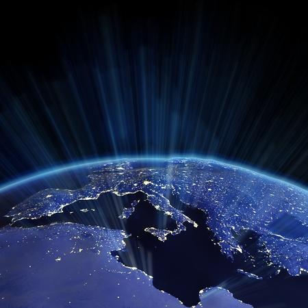 mapa de europa: Alivio de Europa desde el espacio. Mapa de la tierra de la NASA