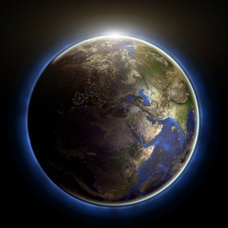 Globe sunset. Earth map from NASA photo