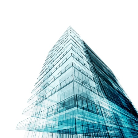 architecture project: Tall building. Isolated on white