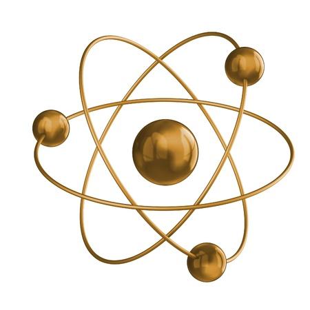 atomo: Ciencia oro. Blanco aislado 3d Foto de archivo