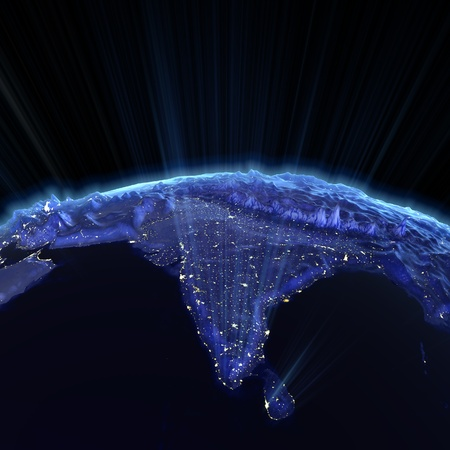 map of india: India real relief at night.