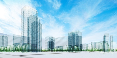 real estate background: City under sky. Transparent 3d render
