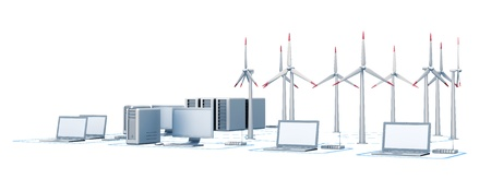 Wind energy and network. Horizontal 3d render Stock Photo - 9034354