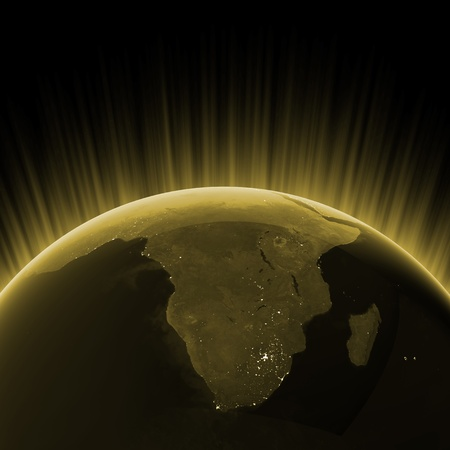 3d planets: Gold South Africa. Maps from NASA imagery Stock Photo