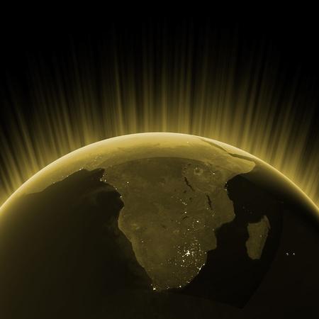 mapa de africa: Oro de Sud�frica. Mapas de im�genes de la NASA Foto de archivo