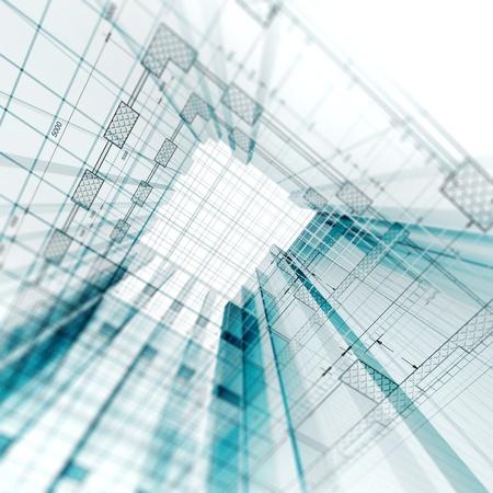 building blueprint: Architecture engineering. 3d render project
