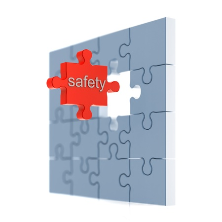 Safety puzzle concept. 3d isolated on white photo