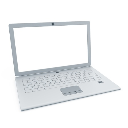 powerbook: Silver laptop. 3d isolated on white