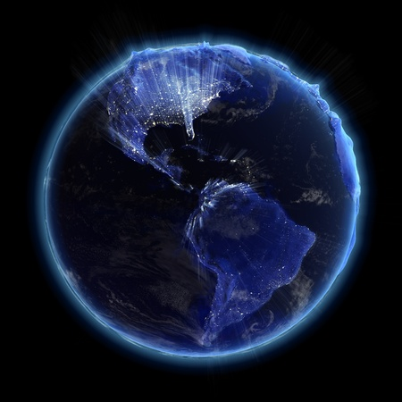 glowing earth: America real relief city lights. Earth map from NASA Stock Photo
