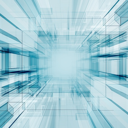 futuristico: Tunnel di tecnologia. Architettura astratto sfondo Archivio Fotografico