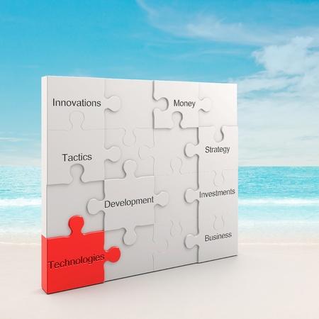 Technology puzzle concept. 3d and photo montage photo