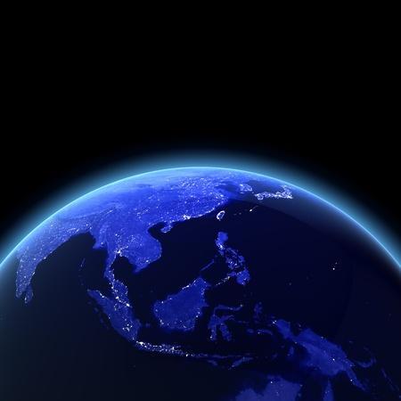 weltkugel asien: S�dost-Asien 3d Render. Karten von NASA-Bild Lizenzfreie Bilder