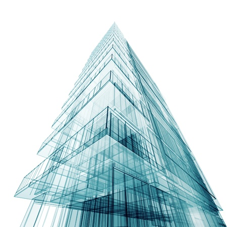 Contemporary abstract building. High resolution 3d render photo