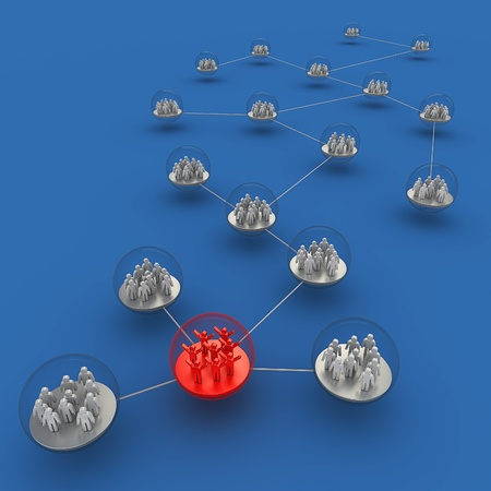 Network people. 3d render on blue Stock Photo - 10318660