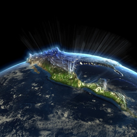 mexico background: North America at night. Earth map from NASA