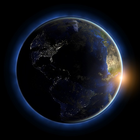 America globe. Earth map from NASA photo