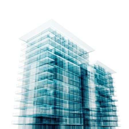 tall buildings: Downtown architecture. Isolated on white Stock Photo