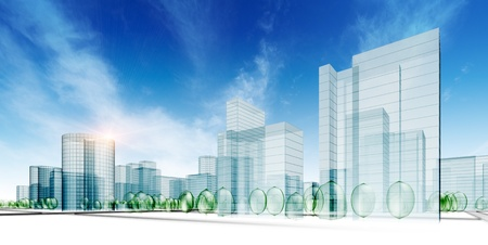 tall building: Abstract city. 3d city render Stock Photo