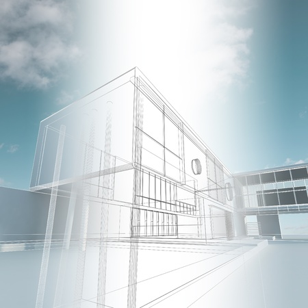 architecture project: Building construction. Industry architecture building Stock Photo