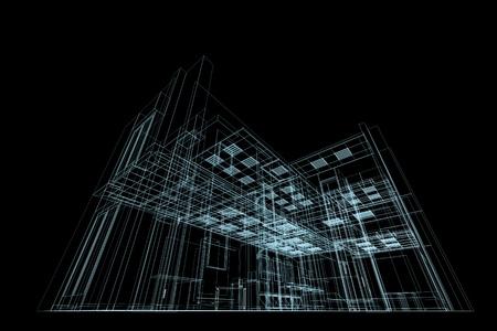 Architecture Blueprints Skyscraper blueprint on black. conceptual architecture blueprint stock photo