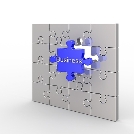 Business puzzle. White isolated 3d render photo