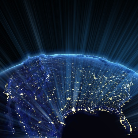 USA And Canada City Lights Earth Map From NASA Stock Photo