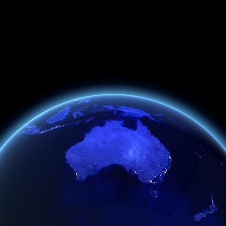 Australia and New Zealand. Maps from NASA imagery photo