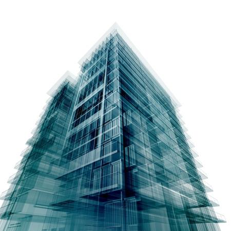 palazzo: Moderno edificio per uffici. Isolato su bianco Archivio Fotografico