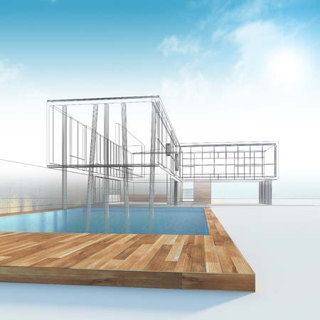 render: Cottage construction. Industry architecture building