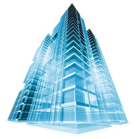 edificio cristal: Edificio moderno. concepto de procesamiento 3D Foto de archivo