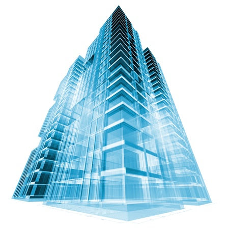 tall buildings: Modern building. 3d render concept