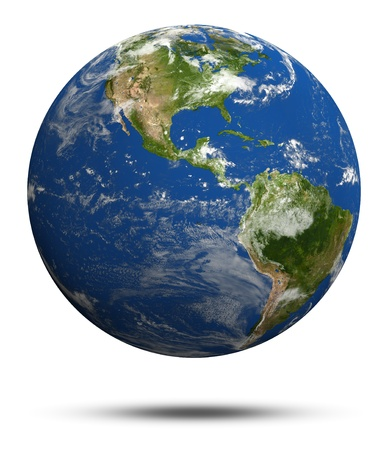 Planet Earth 3d render. Earth globe model, maps courtesy of NASA Stock Photo - 10497046