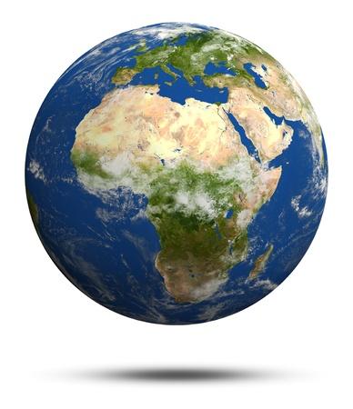 mapa de africa: �frica y Europa. Tierra mundo modelo, mapas cortes�a de la NASA Foto de archivo