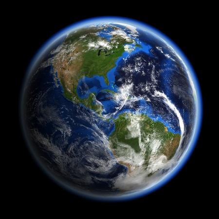 Amerika onder de wolken. Aarde de ruimte-model, kaarten met dank aan NASA Stockfoto