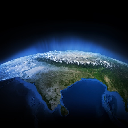 Himalayas mountains. Earth lights 3d render, maps courtesy of NASA