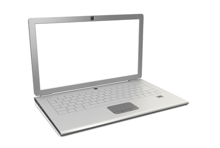 powerbook: Laptop isolated. Angle view 3d render