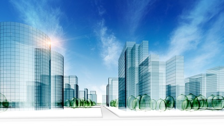 real estate background: Glass city. Abstract 3d render