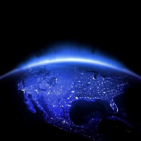 courtoisie: Etats-Unis. Terre 3d rendent les lumi�res, les cartes de courtoisie de la NASA