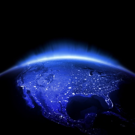 world globe map: USA. Earth lights 3d render, maps courtesy of NASA