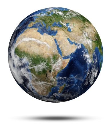 a courtesy: Africa and Asia. Earth globe 3d render, maps courtesy of NASA