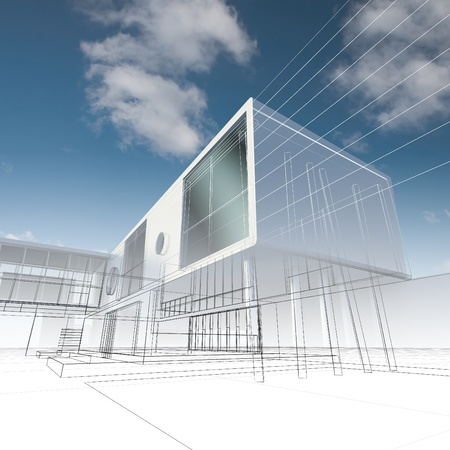 drafting: Business building structure. High quality 3d render