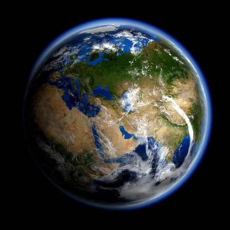 a courtesy: Asia and Europe. Earth space model, maps courtesy of NASA