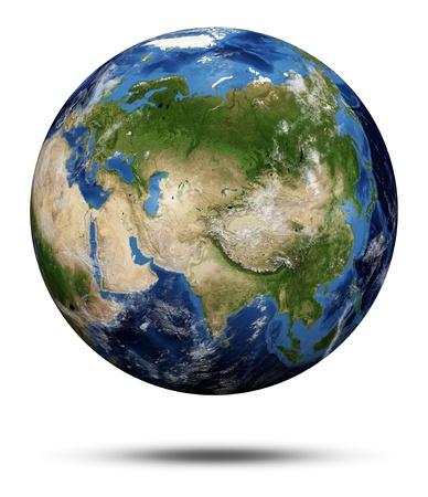 惑星の地球。地球地球 3 d レンダリング、NASA の礼儀マップ