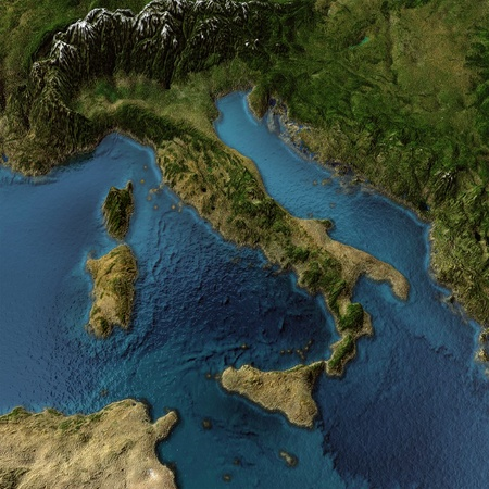 courtoisie: Italie. Paysage 3d avec des ombres, l'eau transparente. Cartes de courtoisie de la NASA