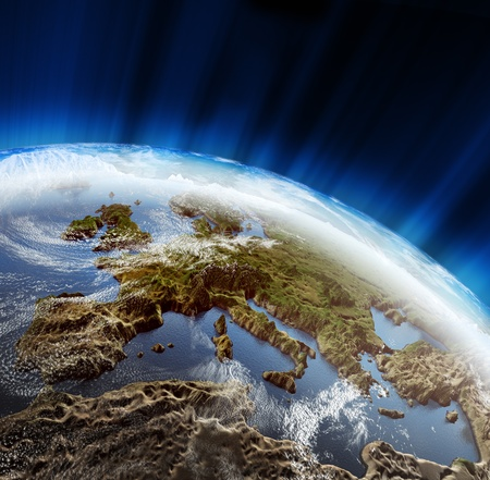 Europe 3d landscape. Maps courtesy NASA photo